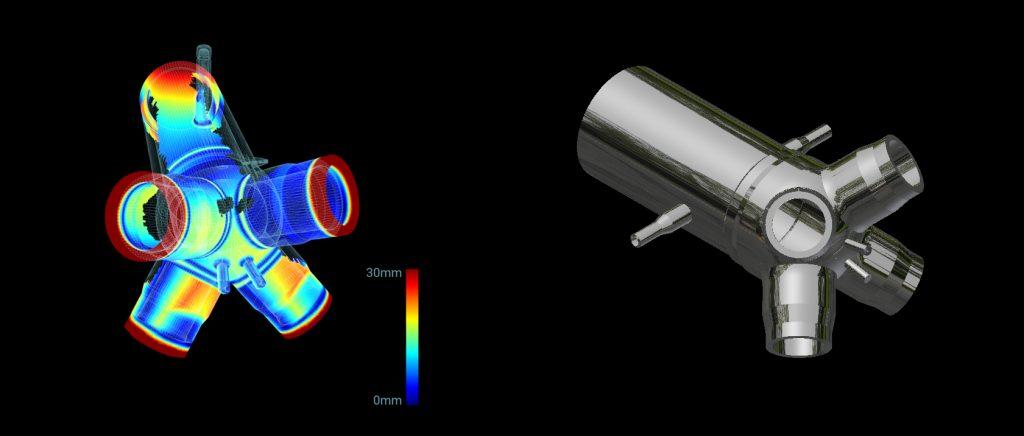 Image 1 : Comparaison entre le composant fabriqué numérisé et le maillage du composant élaboré pour vérifier toute irrégularité. | Image 2 : Modèle 3D avec extrémités vertes