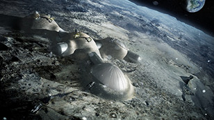 An imagined lunar base for four people