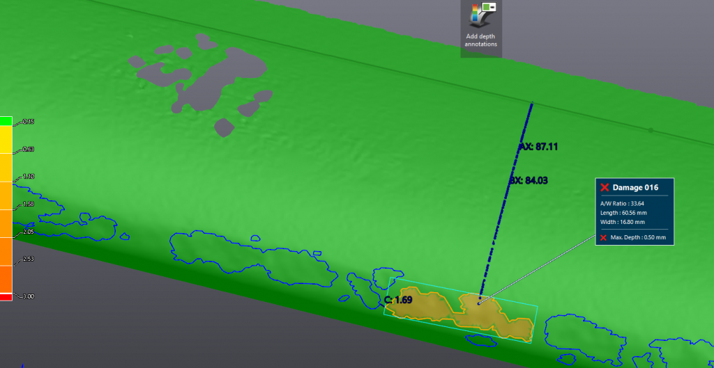Screenshot of one feature of the leading edge damaged by hail in a surface inspection software
