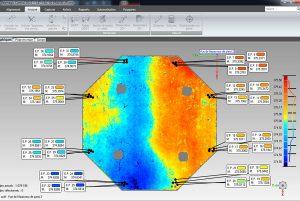 Exemple de cartographie d'épaisseur sur le logiciel Geomagic