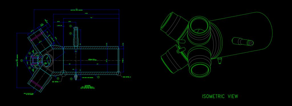 Revised manufacturing drawing with Creaform's mesh of the spherical header