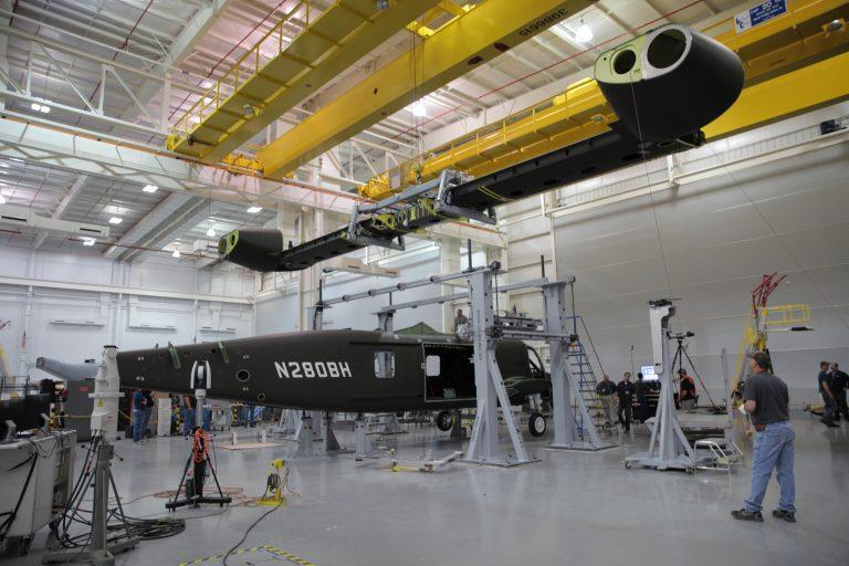 V-280 Valor assembly in a hangar