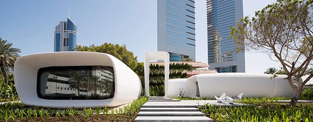 Outside view of the first functional 3d printed office at Dubai