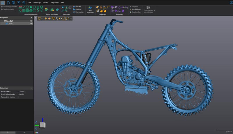 Scan output of KTM motorcycle frame