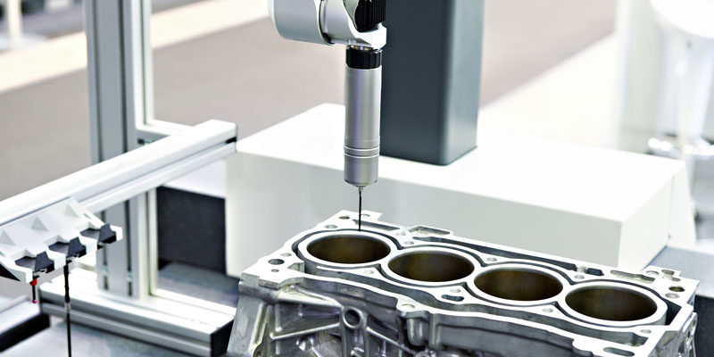 Quality control of an industrial automotive part using a coordinate measuring machine (CMM)