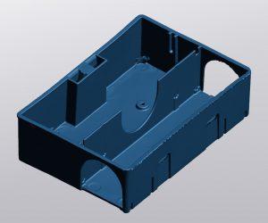 Blue mesh representation of mousetrap in VXmodel