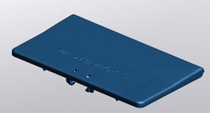 Blue mesh representation of moustrap lid in VXmodel