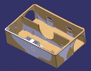 White and orange CAD representation of mousetrap