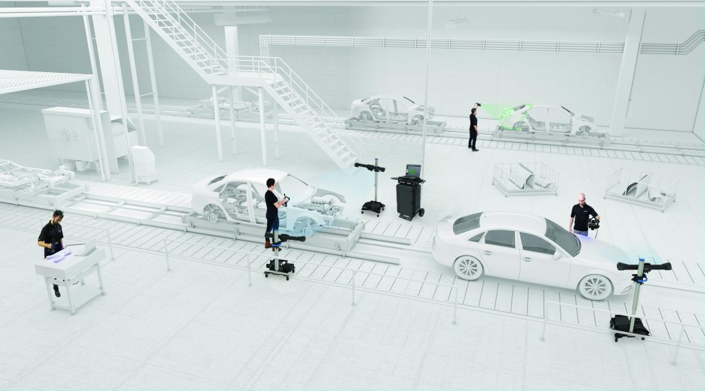 White 3D representation of an automotive assembly line with workers using MetraSCAN HandySCAN MaxSHOT HandyPROBE and C-track