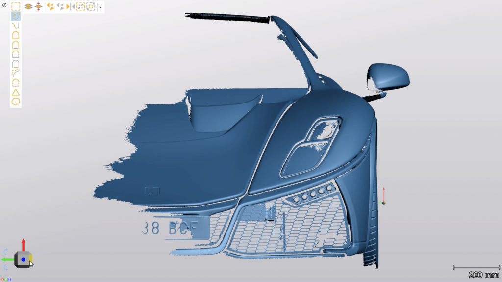 3D scan obtains from the car's exterior scan.