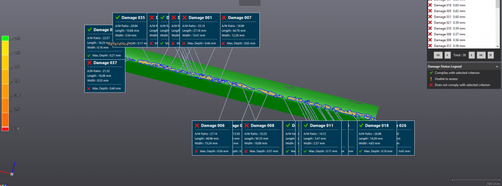 Screenshot of an analysis of a leading edge damaged by hail in a surface inspection software
