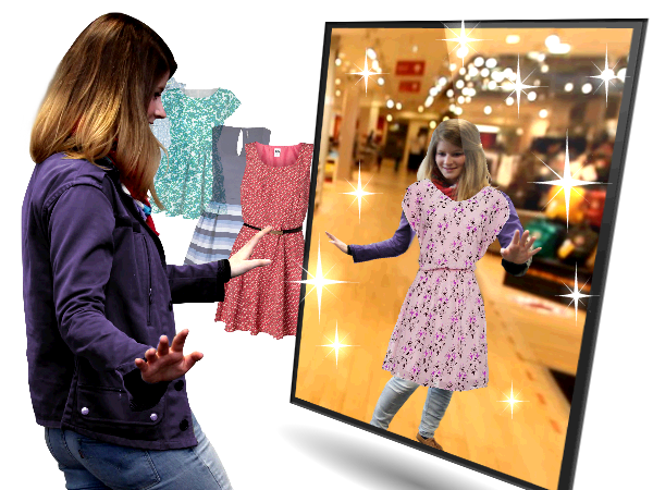 Girl try a dress in a virtual fitting rooms - Fashion retail