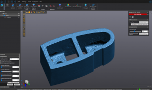 Blue scan render of a filler cross section in VXelements