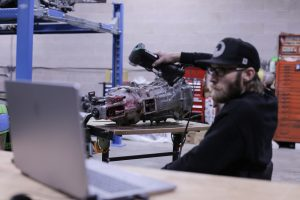 3D scanning of T-56 transmission while looking at instant result on laptop