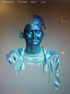 Digitalização 3D azul de uma pessoa sorrindo no VXmodel