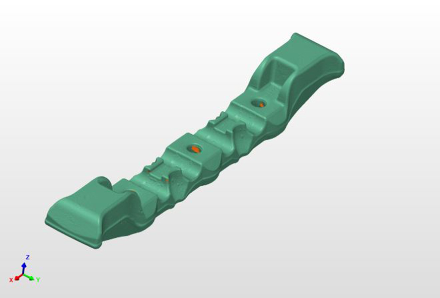Green CAD model of the part with allignment arrows