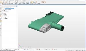 Green 3D CAD model of a guide vane