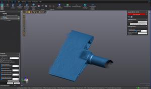 Blue 3D rendering of guide vane in VXelements