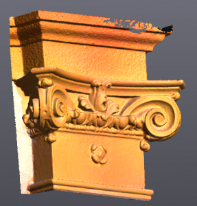 Yellow 3D rendering of decorated corner wall