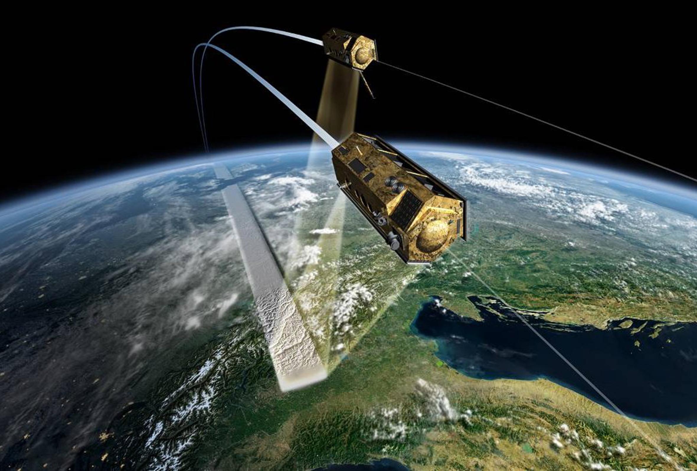 Metallmodul im Orbit im Überblick über die Erde