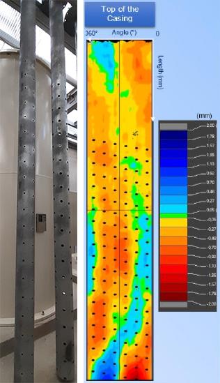 Photo réelle de cuvelages perforés et carte de variation 2D déroulée à partir d'une image 3D du diamètre externe d'un cuvelage perforé (en mm)