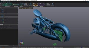 Blue 3D CAD model of motorcycle in VXmodel
