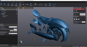 Blue mesh 3D scan of motorcycle in VXScan