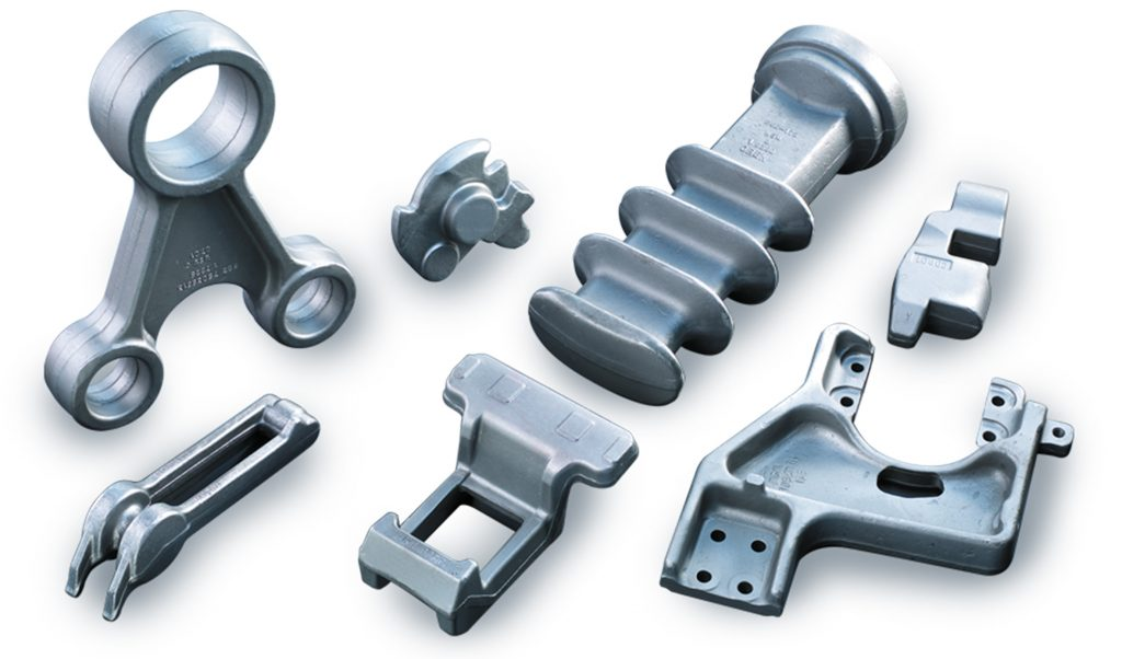 Forged components on white background