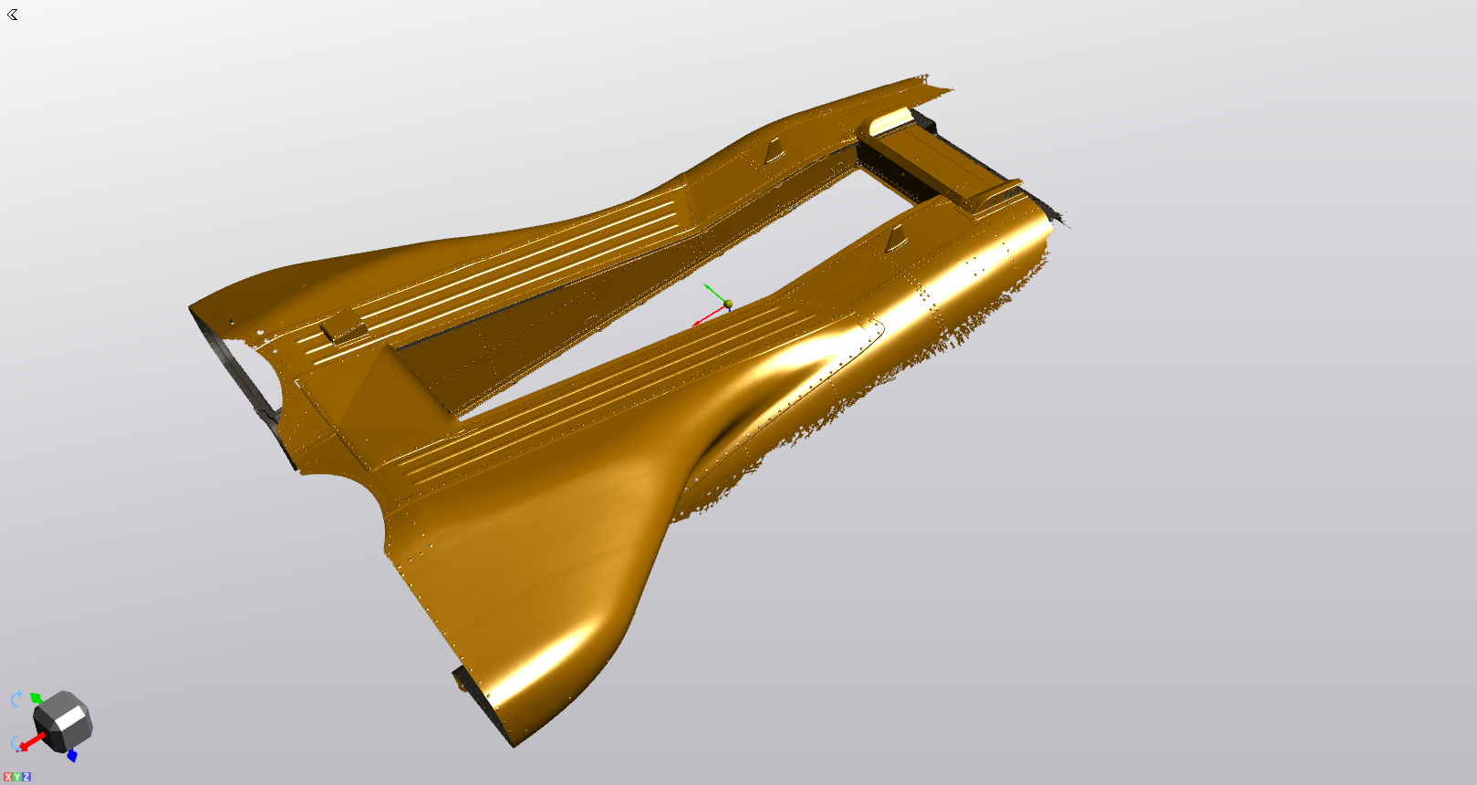 CAD model of the fuselage and floor hatch