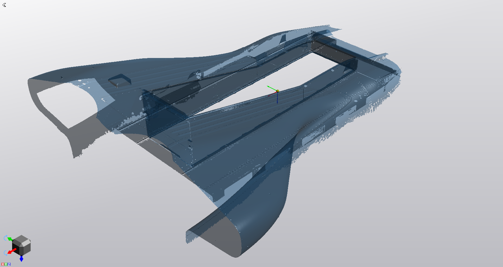 Scan of the fuselage and the floor hatch in the VXmodel software