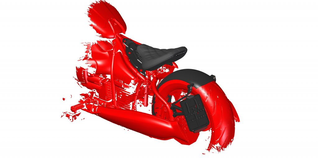 Black and red CAD model of motorcycle seat of BMW R18