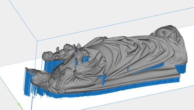 blue and grey 3D file of the Madonna of the Turning Eyes for 3D printing