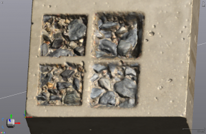 Modelo 3D da amostra de concreto digitalizada