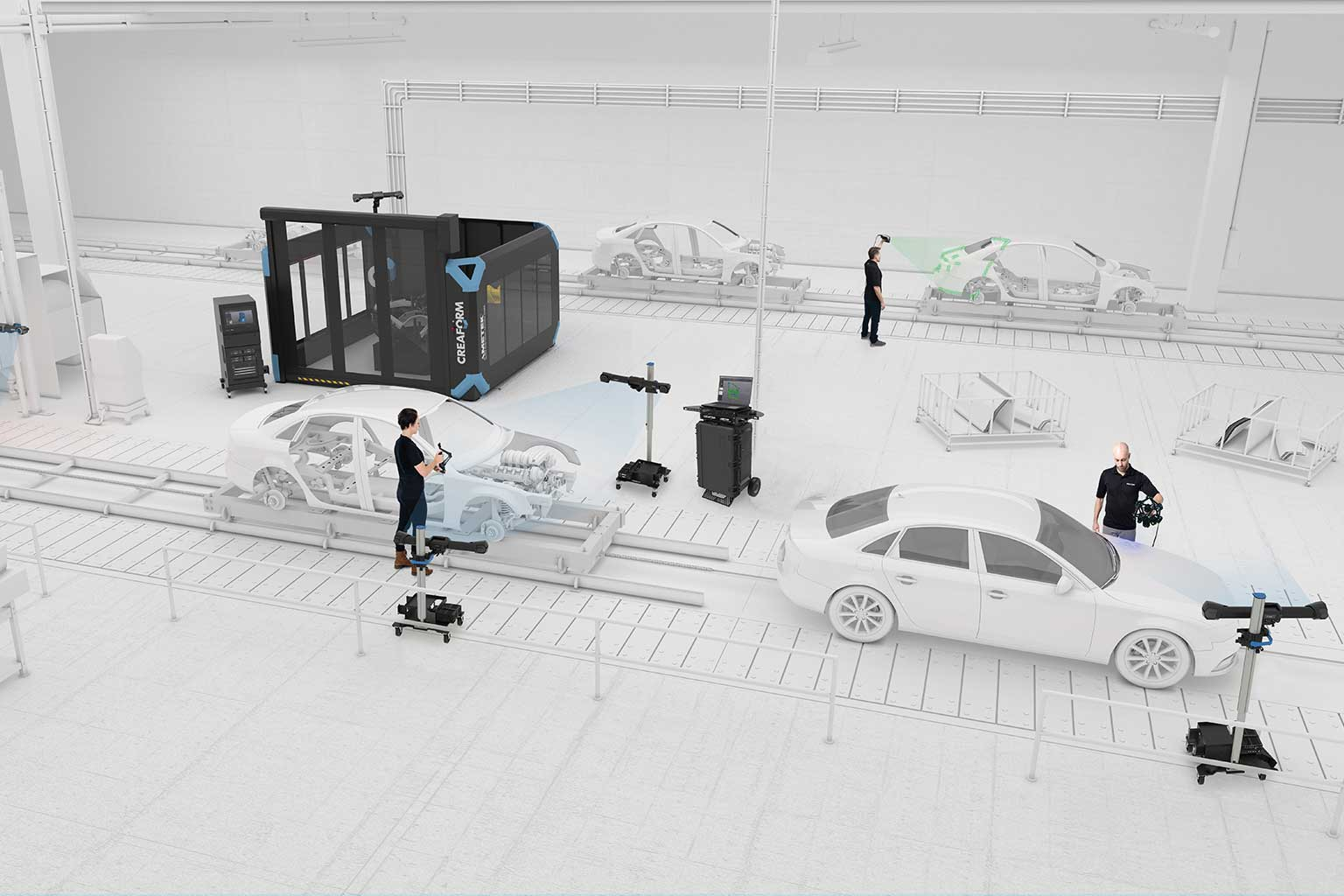White 3D rendering of car production line with Cube-R R-Series MetraSCAN 3D HandyPROBE MaxSHOT 3D C-Track portable workstations