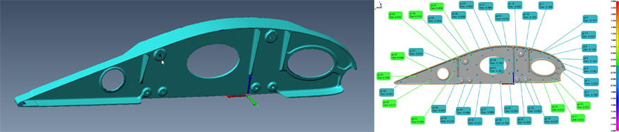 Aerospace part CAD validation by Creaform
