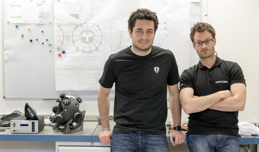 Eduardo, Koenigsegg's composite engineer, with Louis-Olivier, Creaform's technical expert