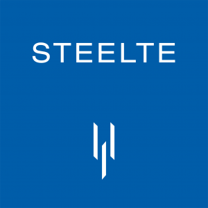 Blue and white Steelte logo