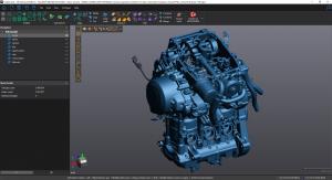 Digitalização 3D azul do motor completo no VXmodel