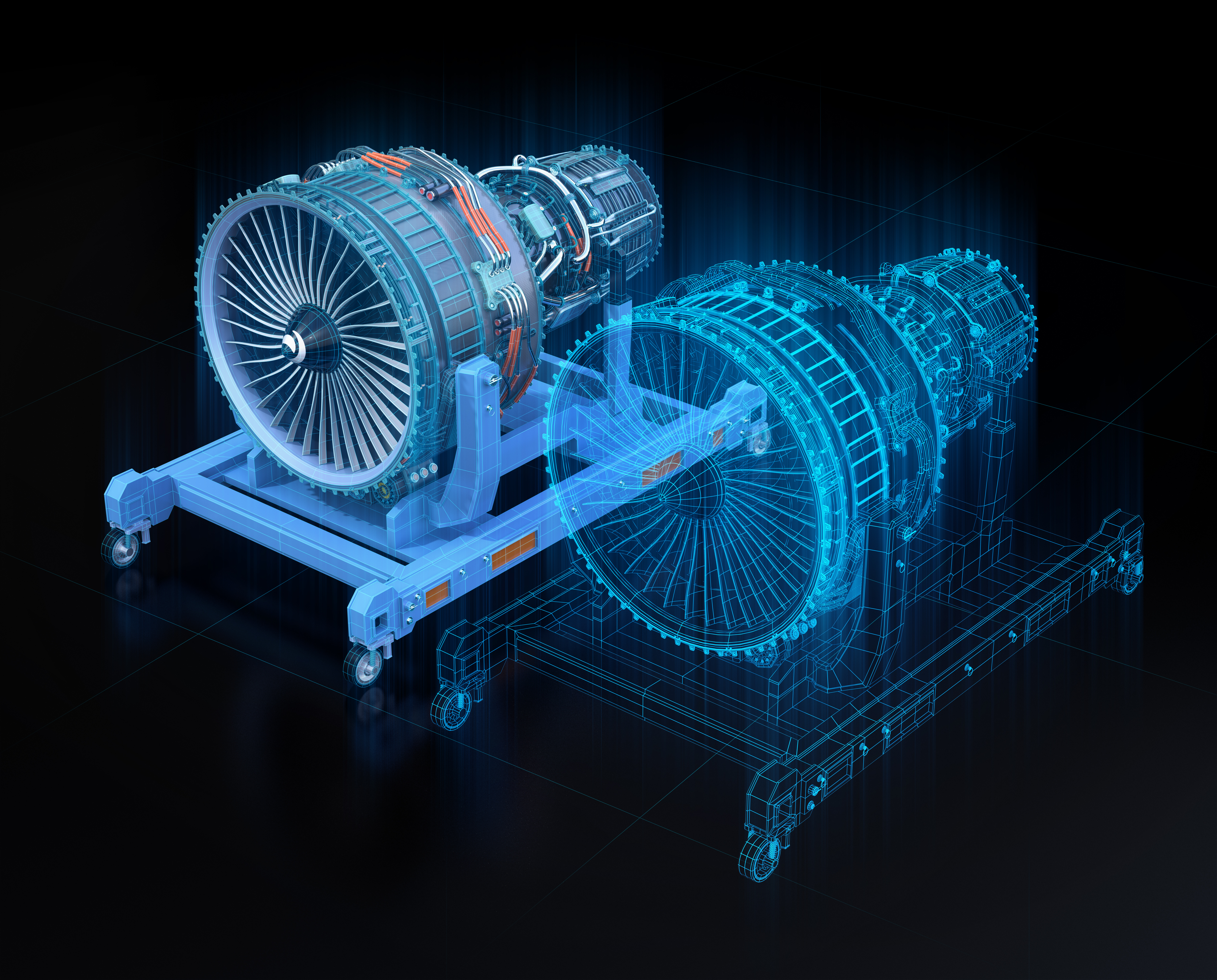 CAD model airplane engine with digital twin