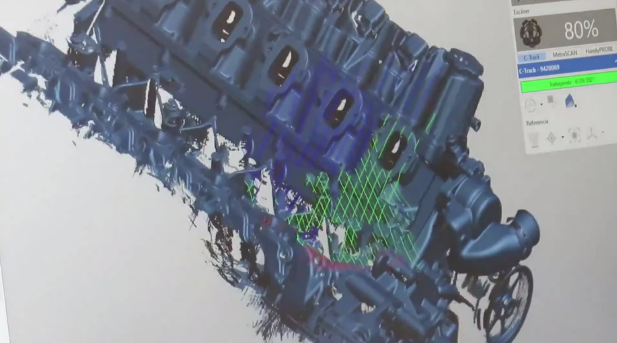 Engine in software during the scan with MetraSCAN 3D