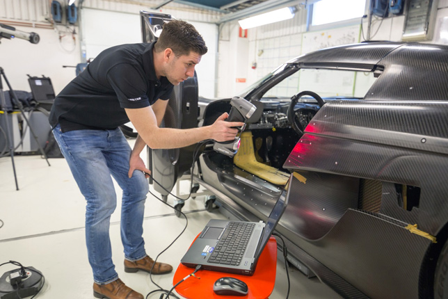 For quality control or engineering projects, HandySCAN 3D enables users to reduce turnaround times and increase profitability. Shown above scanning the body of a Koenigsegg Regera