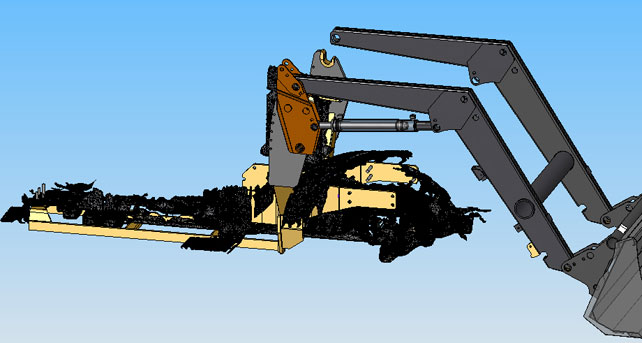 3D scanning mesh of the tractor' front, combined to the virtual loader.
