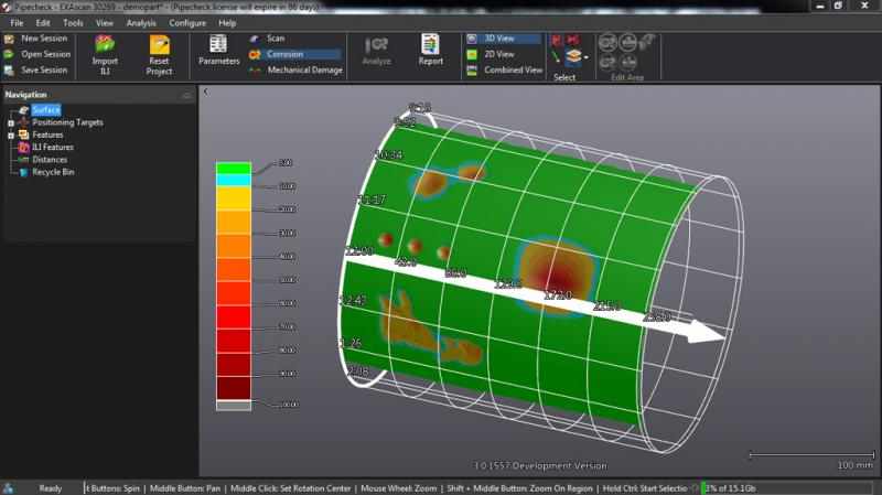 corrosion module 3D view with grid