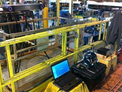 Inspecting a rear chassis at Nova Bus: the Creaform HandyPROBE portable CMM does the work right!